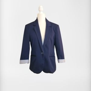 Nicole Miller Original Blazer 3/4 Sleeve Blue Med